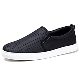 HKR Slip On Work Shoes for Women Comfortable Fall Casual Leather Sneakers 7 US Black(FY506heise37)