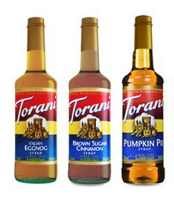 Torani Holiday Favorites 3 pack, Brown Sugar Cinnamon, Italian Eggnog, Pumpkin Pie syrups