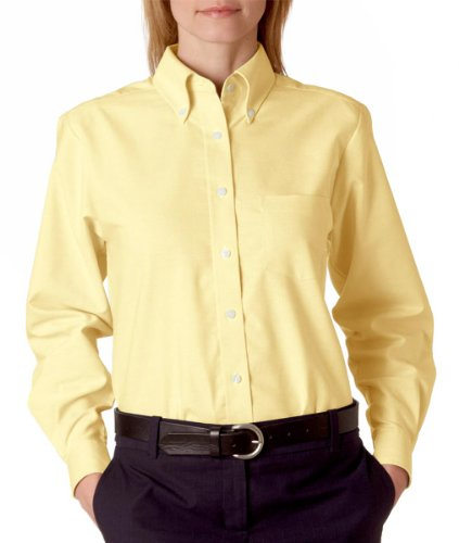(UltraClub® Ladies' Classic Wrinkle-Free Long-Sleeve Oxford - Butter - M)