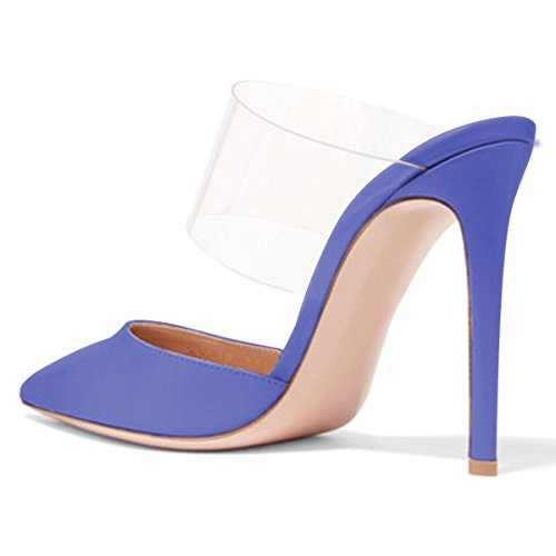 FSJ Women Strappy Stiletto High Heels Clear Sandals Pointed Toe Sexy Party Shoes Size 4-15 US Purple clearance genuine sale best store to get best place for sale 8ASXESj