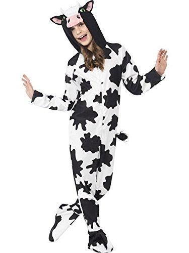 Smiffys Children's Unisex All In One Cow Costume, Jumpsuit with Tail and Ears, Party Animals, Ages 4-6, Size: Small, Color: Black and White, 27993