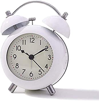 """Cute and Loud Tabletop Clock White ATTOE 4/"""" Twin Bell Small Alarm Clock Non-Ticking Battery Operated Desk Clock Perfect for Bedroom and Work"""