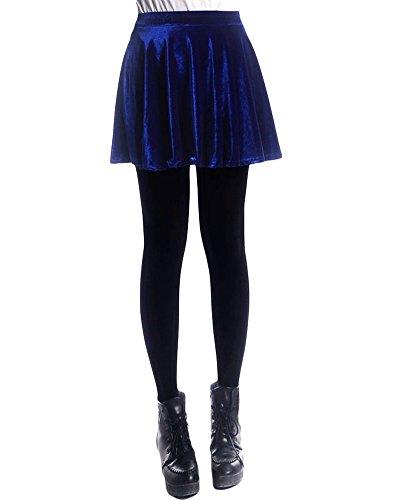 ZongSen Femme Fille Patineuse vase Jupe en Velours Stretch Taille lastique Dames Jupe Pliss Large Bleu Saphir