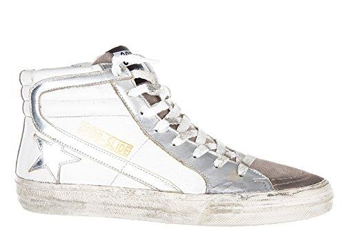 Golden Goose chaussures baskets sneakers hautes femme en cuir slide blanc