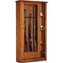 American Furniture Classics 725 10 Gun Oak Gun Cabinet-Curio Combo