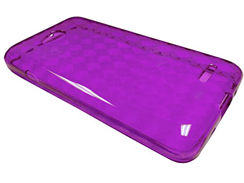For LG Optimus Exceed 2 / Realm / Pulse Soft TPU Crystal Flexible Skin Phone Cover Case + Happy Face Phone Dust Plug (TPU Purple)