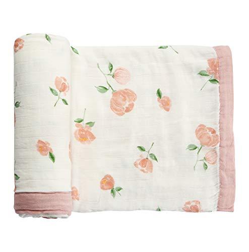 (Muslin Baby Toddler Blanket- Large, Ultra-Soft Pink Rose Blanket for Girls- Bamboo Baby Everything Blanket-Two Layer Stroller Blanket)