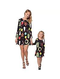 Mom and Me Christmas Dress Family Matching Santa Claus Print Mini Dress
