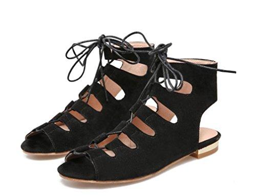 SHFANG Sandalias de las señoras Summer Strap Roman Sandals Dew Toe tubo corto 34-43 Compras Parte tres colores 3 cm Black