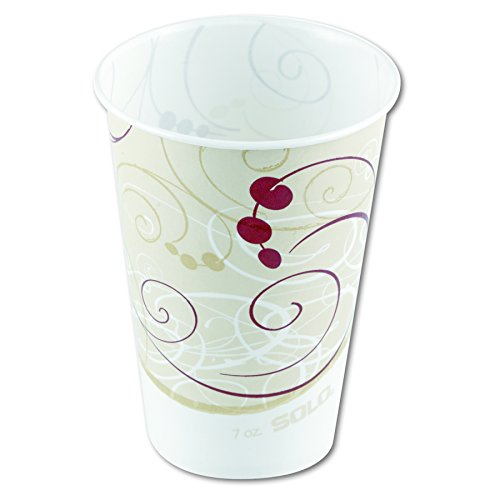 SOLO Cup Company R7NSYM Waxed Paper Cold Cups, 7 oz, Symphony Design, 100 per Pack (Case of 20 Packs) by Solo Foodservice