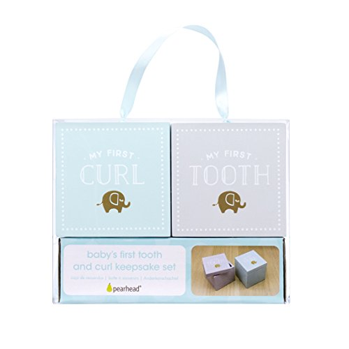 Babys First Tooth Box (Pearhead Baby's First Tooth and Curl Wooden Keepsake Box Set, Mint/Gray)