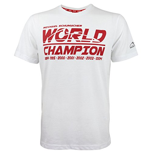 Michael Schumacher World Champion T-Shirt, White (XL) - Michael Schumacher T-shirt