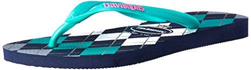 Havaianas Women's Slim Retro Sandal, Navy Blue/Green 39/40 BR (9/10 M US)