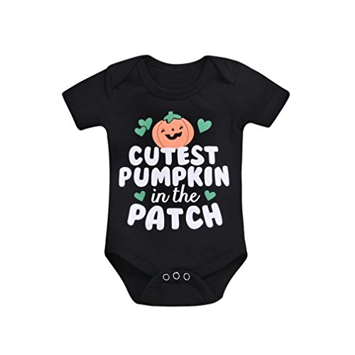 Danhjin Newborn Infant Baby Girls Boys Letter Print Romper Jumpsuit Halloween My First Halloween Clothes Bodysuit (Black, 70) -