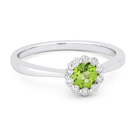 Natural 0.4ct Round-Shape Green Peridot Gemstone & Diamond Ring Set In 14K White-Gold - Peridot Gemstone Round Shape