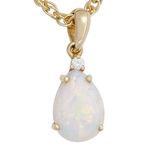 JOBO pendentif en or jaune 585 serti d'une opale 1 diamant 0,02ct brillant.