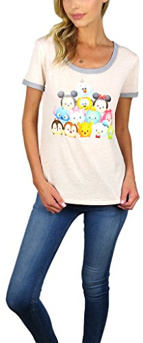 Disney Womens Mickey Mouse Burnout Ringer Tee Tsum Tsum Pink (Tsum Tsum Pink, Small)