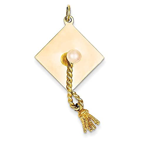 14k Yellow Gold Graduation Cap With Fresh Water Cultured Pearl Charm - Pearl Graduation Charm
