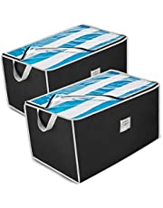 ZOBER Jumbo Storage Bag, Breathable Blanket, Clothes Storage Bag For Comforter, And Quilts, With Clear Viewing Top And Sturdy Zipper For Clothing, Linens, Shoes Etc. Set Of 2, Black 17.5x29x15.5