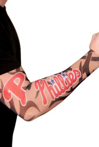 (MLB Philadelphia Phillies Authentic Tattoo Sleeves with Full Color Team Logo)