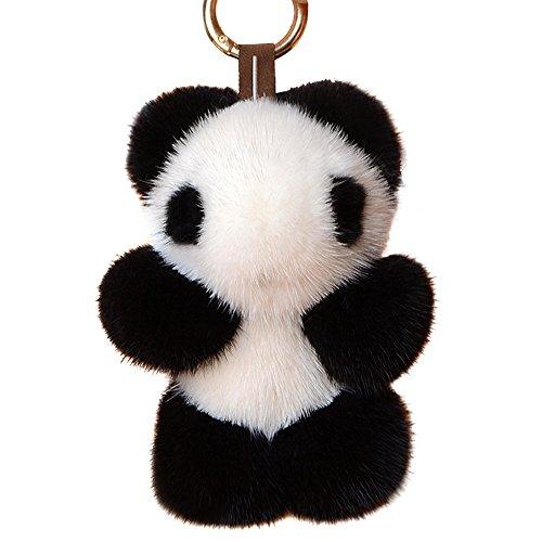Yu He Panda Real Mink Fur Keychain Cosplay Toy Bag Pendant Tassel Key Chain Hook Pom Pom