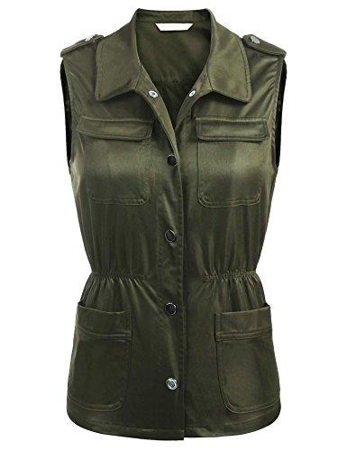 Concep Utility Vest Women Plus Size Sleeveless Lightweight Military Anorak Safari Jackets (Army Green, -