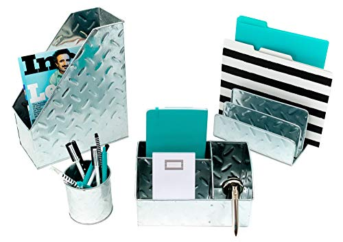 Blu Monaco Chrome Desk Organizer for Men - 4 Piece Desktop Organizer and Accessories Set - Letter - Mail Organizer, Sticky Note Holder, Pen Cup, Magazine File Holder - Galvanized - Chrome Finish