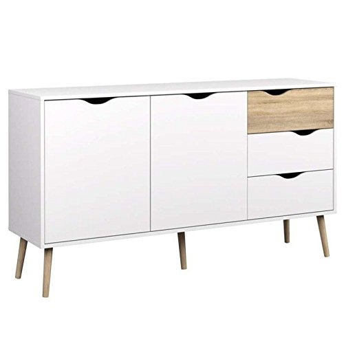 Tvilum 7538149ak Diana Sideboard with 2 Doors and 3 Drawers, White/Oak - Sideboard Drawer 3 Large