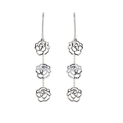 Tousmesbijoux Boucles d'oreilles fleurs pendantes en Or blanc 375/00