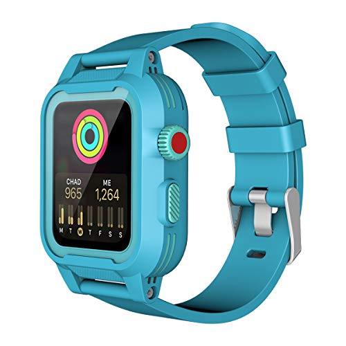 Momots Apple iWatch Case, TPU iwatch Waterproof Case Series 4/3/2 Women Men Sport Smartwatch Case with Apple Watch Band (iWatch 2/3 42mm Teal)
