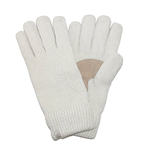 Isotoner Women's Chenille with Suede Palm Gloves, Ivory (Suede Palm Glove)