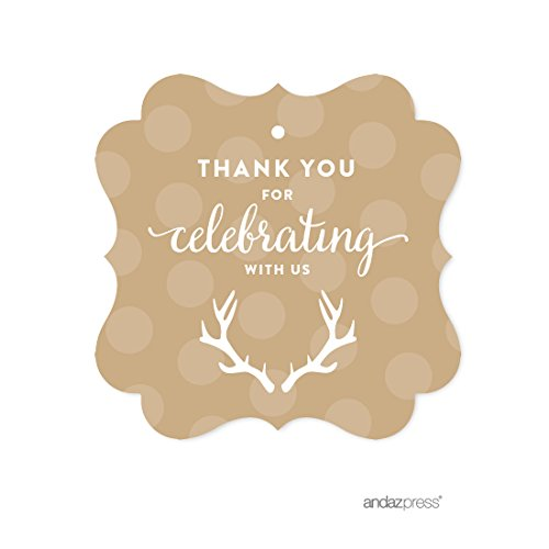 (Andaz Press Birthday Fancy Frame Gift Tags, Thank You for Celebrating With Us, Tan Deer Antlers, 24-Pack, For Gifts and Party Favors )