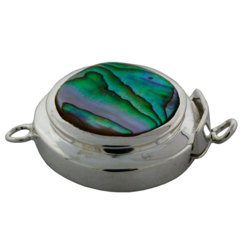 Sterling Silver Abalone Shell Round Jewelry Clasp.