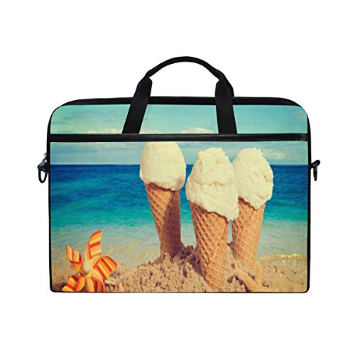 Starfish Beach Sea Ice Cream Sky 14 15inch Laptop Case Laptop Shoulder Bag Notebook Sleeve Handbag Computer Tablet Briefcase Carrying Case Cover with Shoulder Strap Handle for Men Women Travel/Busine