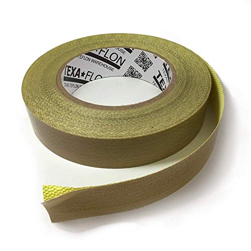 (TEXAFLON 3MIL (5MIL Total) PTFE Teflon Coated Fiberglass Tape with Silicone Adhesive and Liner, 18 Yards, 2
