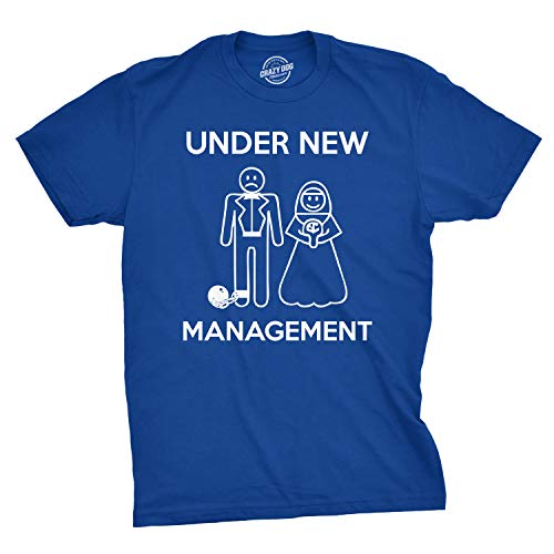 Mens Under New Management Funny Wedding Bachelor Party Novelty Tee for Guys (Blue) - M