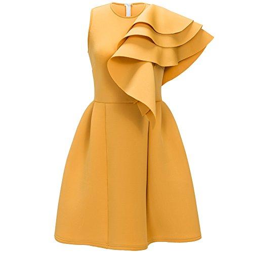 Bodycon4u Manches 3/4 Chemises Blouse Ourlet Col Haut Féminin Tunique Mini-club Robe Jaune 3