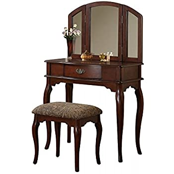 Amazon Com Bobkona Jaden Collection Vanity Set With Stool Cherry Kitchen Amp Dining