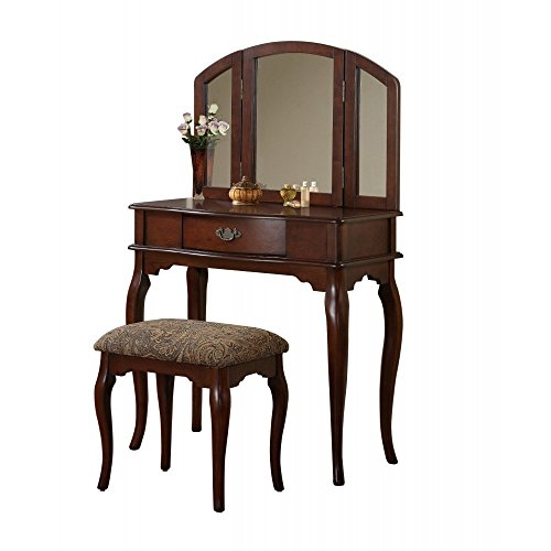 Cherry Vanity Bench - BOBKONA Jaden Collection Vanity Set with Stool, Cherry