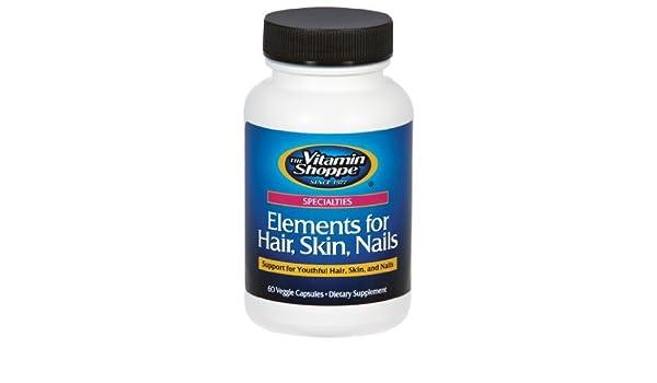 Amazon.com: the Vitamin Shoppe - Elements for Hair, Skin, Nails, 60 ...