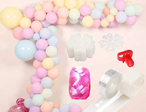 (Pastel Balloons Arch Garland Kit 100 Assorted Macaron Candy Colored Latex Balloons Decorating kit:16ft Balloon Strip Tape, a Tying Tool, 100 Dot Glue, 20pcs Flower Clip for Party Festval Event)