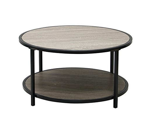 Weathered Grey Oak Finish Black Metal 2-tier Modern Round Co