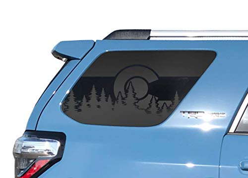 Toyota 4Runner - State of Colorado Forest Design - USA Flag Decals in Matte Black for side windows - TF17A