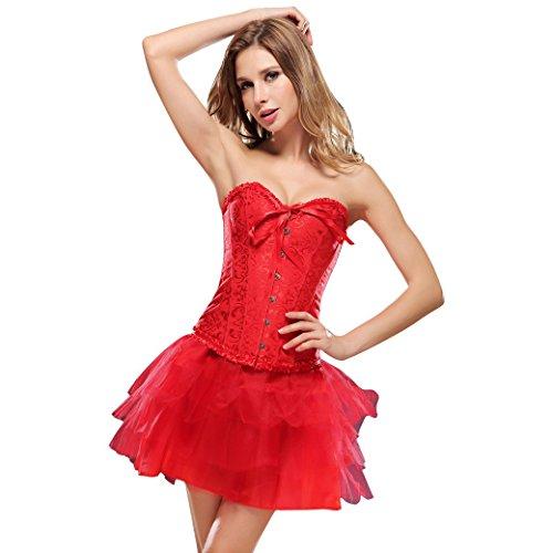 Aivtalk Mujer Corsé Corpiño Corset Push-up Cincher Corset de Jacquard Bustier Lencería con Encaje Body Shaper Shapewear (Sin Falda) Rojo/Blanco/Negro Color a Elegir Rojo