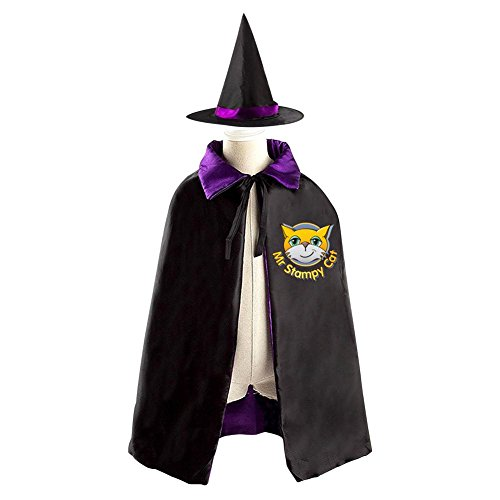 DBT Stampy Cat Logo Childrens' Halloween Costume Wizard Witch Cloak Cape Robe and Hat