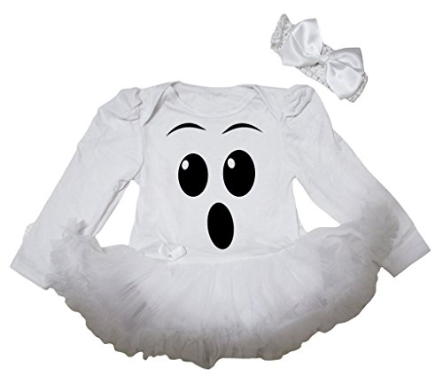 Petitebella Ghost Face White L/s Bodysuit White Tutu Baby Dress Nb-18m (12-18 Months)