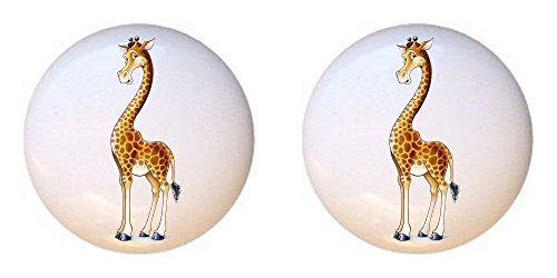 Jungle Drawer Pulls - SET OF 2 KNOBS - Giraffe from Baby Jungle Animals Collection - DECORATIVE Glossy CERAMIC Cupboard Cabinet PULLS Dresser Drawer KNOBS