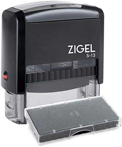 ZIGEL S-13 Large Text Stamp 7/8'' x 2-3/8'' with Extra Replacement Ink Pad - Customize Online up to five lines of type - Many font and color choices by Rubber Stamp Creation