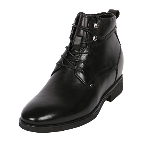 3 Inches Taller Boots (Ankle Elevator Boots For Men 3 Inch Height Taller Leather Black, CYB35)