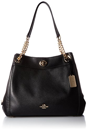 COACH Women's Turnlock Edie LI/Black Shoulder Bag - Black Pebbled